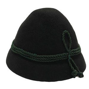 Vintage German Lodenhut Black Wool Hat